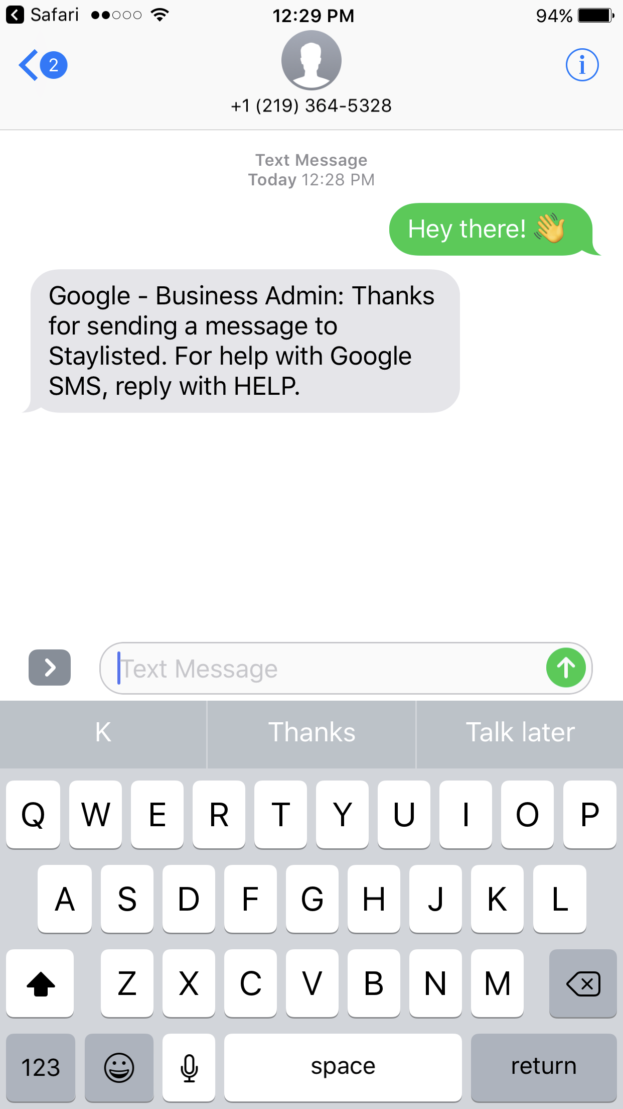 Google Messaging Automatic Reply