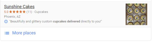 Screenshot of Google Posts for Sunshine Cakes