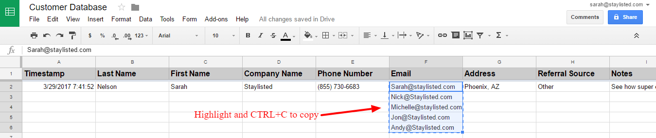 customer tracking with gmail