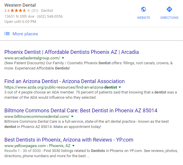Google Local Section