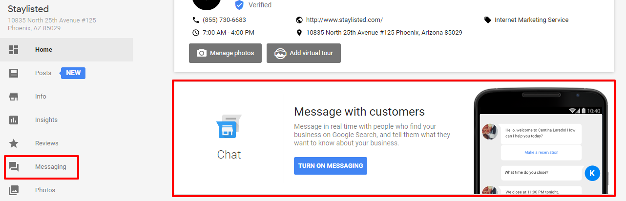 Google Messaging Dashboard
