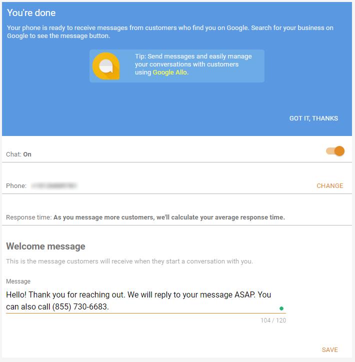 Google Messaging Screen'