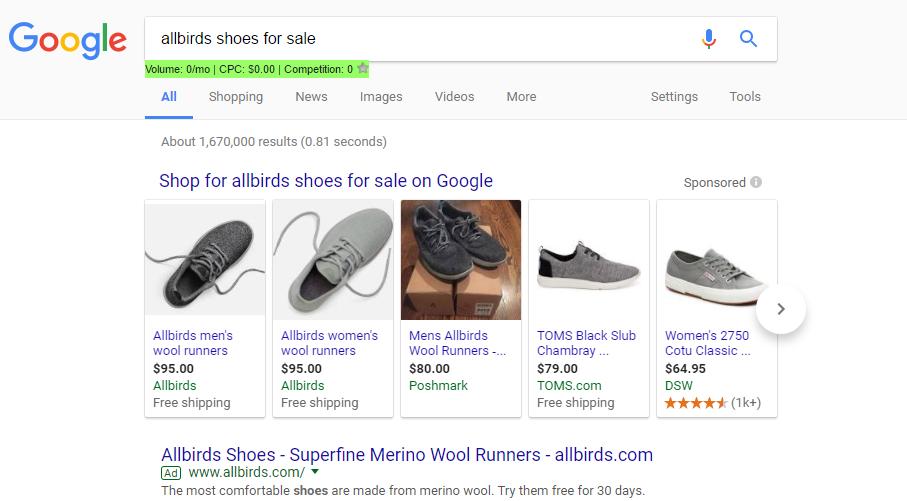 allbird shoe shopping ad