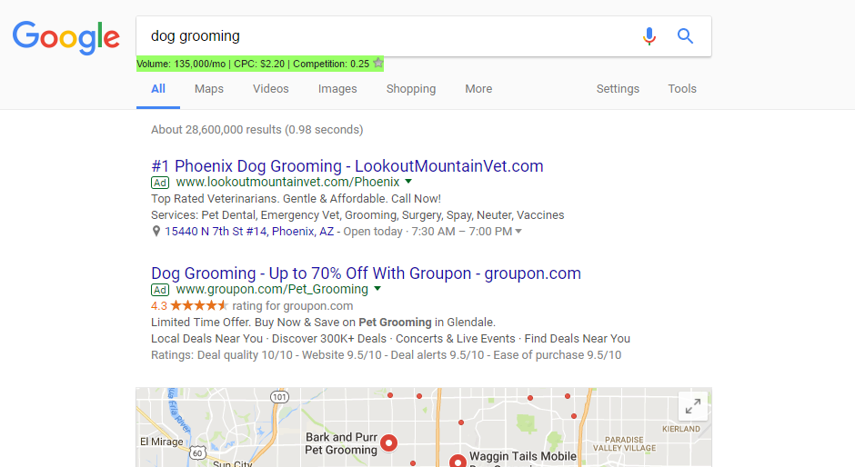 dog grooming adwords
