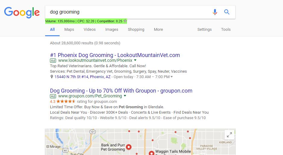 dog grooming adwords